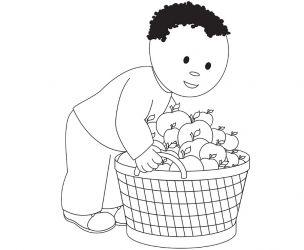 Dessin d'un garçon aux pommes