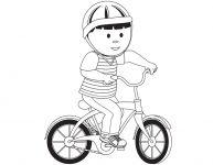 Dessin d'un garçon à bicyclette