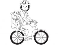 Dessin d'une maman à bicyclette