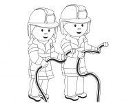 Dessin d'enfants-pompiers